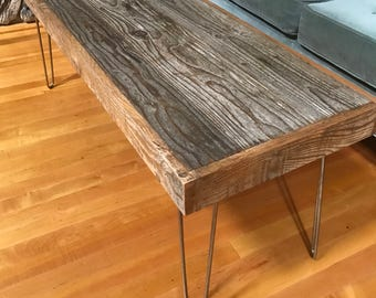 """Sale! 46""""x16""""x18""""H Rustic and Modern Coffee Table made of Reclaimed Barn Wood - Hairpin Legs - Shabby Chic- Upcycled - Salvaged"""