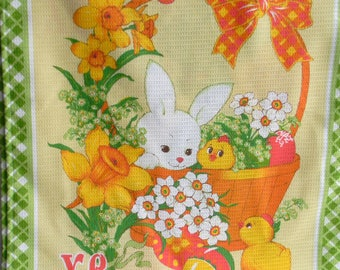 Easter tea towel Easter dish towel Easter kitchen towels Easter cotton dish towel bunny chick farmhouse decor