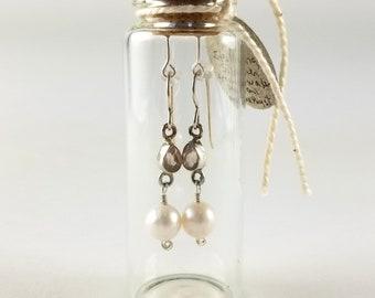Pearl, amethyst and 14k sterling silver earrings in gift bottle