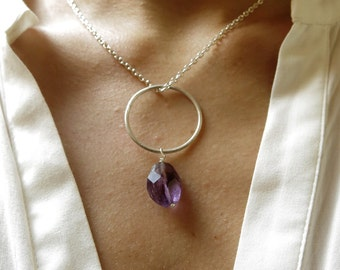 Amethyst necklace. Amethyst and sterling silver necklace. February birthstone. Artisan necklace. Raw silver necklace.