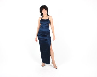 Sexiest 90s Midnight Blue Curve Hugging / Tight Form Fitting Minimal Maxi Bodycon / Bandage Formal Party Prom Cocktail Spaghetti Strap Dress