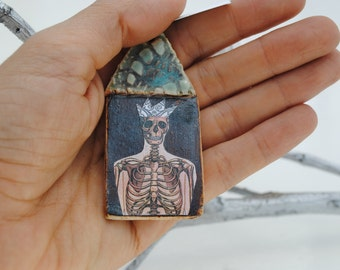 mixed media necklace wearable art miniature assemblage collage pendant