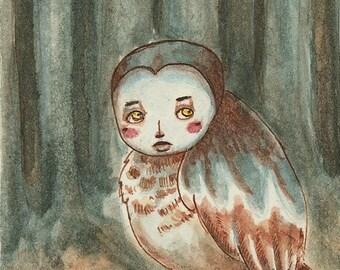 In Monk Woods, the Birds - ACEO eerie fantasy bird art print