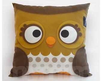 "12 x 12"" Pillow, Forest Owl, Decorative Pillow, Woodland Animal, Kids Cushion, Owl Decor, Room Decor, Baby Bedroom, Animal Nursery"