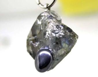 Labradorite and hematite gemstone pendant