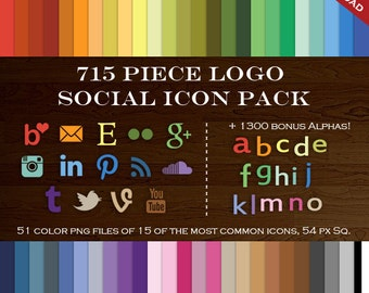 HUGE Social Media Icon Package - 715 Blog Button Icons - Transparent Social Network Buttons Including Email Icon, Twitter Icon and more!