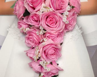 "New Artificial Pink Teardrop Wedding Bouquet, 15"" in length. White Baby's Breath and Pink Bridal Bouquet"