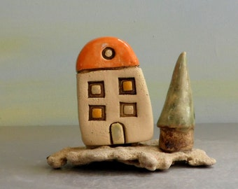 Little house , Home sweet home , Sculpture of clay house , Hand painted cottage, Ceramic house , Home Decor, Rustic home decor , Pottery