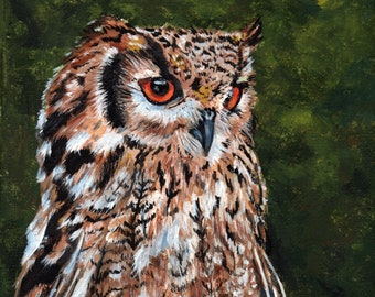 Owl original 8 x 10 painting in acrylic on stretched canvas