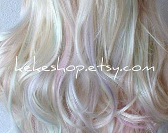 Pastel wig. Rainbow wig. Platinum Blonde / Pastel colored wig. Long wavy hairstyle One of kind random hand dye artistic wig.