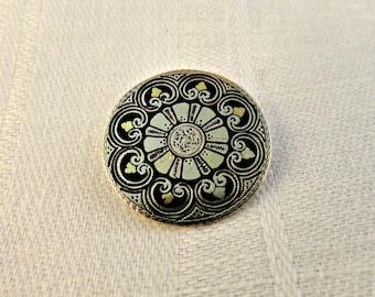 Victorian Black Enamel Gold Filled Pin Brooch