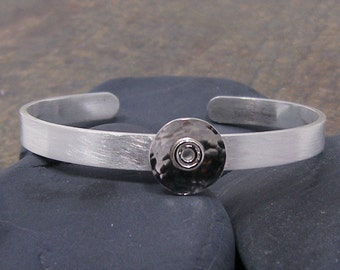 Silver Cuff Bracelet with a Brushed Satin Finish