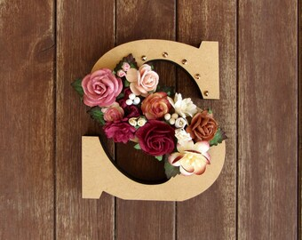 Floral Decorated Wooden Letter - lowercase s / wall nursery birthday wedding office decor