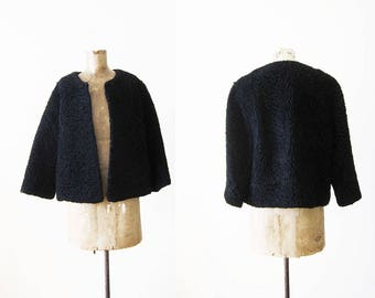 60s Jacket / Vintage Black Lambswool Cropped Jacket / Boxy / Structural / 1960s Lambswool Short Jacket Small Medium