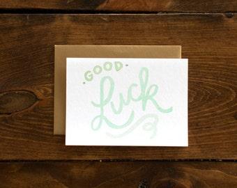 mint & gold good luck card