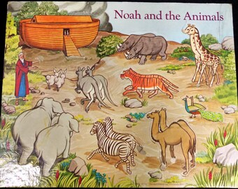 Noah Ark puzzle - Bible puzzle -Vintage jigsaw puzzle , Vintage  Frame Tray Puzzle  -Preschool Jigsaw Puzzle -Sunday School Tool - # 7