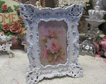 "Shabby Chic White Ornate PHOTO FRAME with Tiny Pink Roses, Resin, Distressed, 4""x6"" Photo, Cottage, Victorian, Romantic Home Decor"