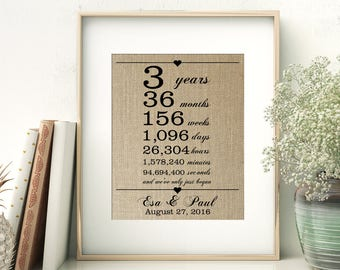 3 Years Together | Years Months Weeks Days Hours Minutes Seconds | Personalized Burlap Print | 3rd Wedding Anniversary Gift for Wife Husband