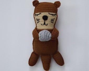 Otter plush, amigurumi otter, otter rag doll, kawaii  otter, crochet otter, kawaii cuddler, cute stuffed otter, sea life decor, beach decor