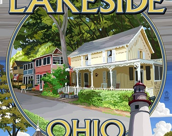 Lakeside, Ohio - Montage Scenes (Art Prints available in multiple sizes)