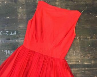 Red Chiffon Early 1960s Dress