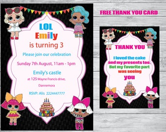 Lol invitation, Lol Party, Lol thank you card, Birthday party,  free  instant download thank you card
