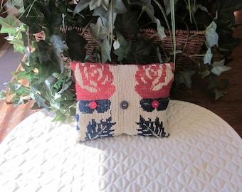 Primitive Antique Coverlet Pillow, Navy & Red