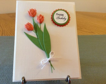 Orange Tulip Birthday Card