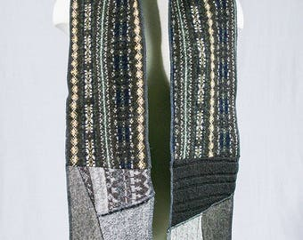 Wool scarf - Patchwork Scarf - Multicolored scarf - Gray multicolored - Recycled wool fabrics - Winter scarf  Made in Quebec One of a kind