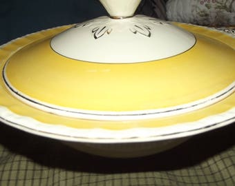 Cream Petal Grindley England - Yellow & Gold Two Piece Vegetable Serving Dish