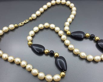 Napier Long Strand Necklace Modern Lucite  Necklace Cream  Pearl Black and Gold tone
