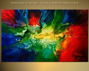 """Colorful Abstract Print 50"""" Ready to hang & Embellished (Palette Knife will be used to create TEXTURE by the artist) OSNAT"""