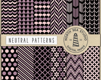Neutral Digital Paper Pack | Scrapbook Paper | Printable Backgrounds | Triangles, Stripes, Quaterfoil Patterns | 12 JPG, 300dpi | BUY5FOR8