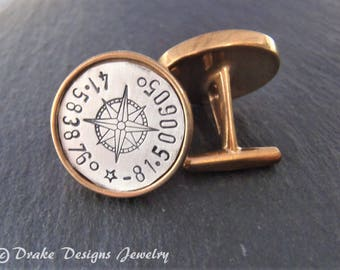 personailzed compass cufflinks with custom coordinates  / mens cuff links / latitude longitude / gift for men