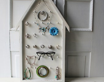 """Hanging Jewelry & Accessory Display - Wall Display for Bracelets, Rings, Keychains - Distressed White  House Shaped Wall Display  14"""" x 24"""""""