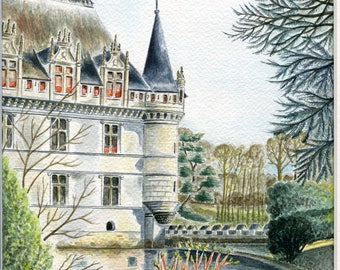 Unique and original watercolor: Chateau of Azay curtain in spring