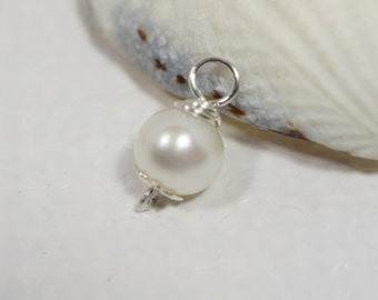 Freshwater Pearl Pendant Wire Wrapped Pearl  Add Dangle Charm