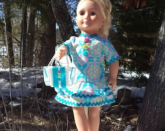 "18"" turquoise doll dress, turquoise, pink, yellow dress, matching purse, bracelet/anklet, summer doll dress, ric rack trimmed, short skirt"