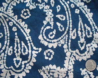 8 Yards of Hand-Printed Blue & White Batik Cotton Fabric