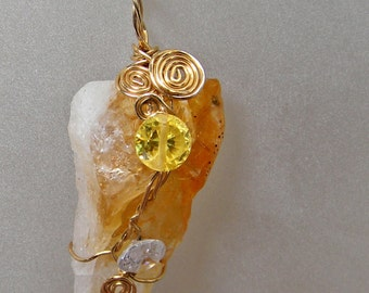 Citrine Crystal Point CZ Pendant Wire Wrapped in Gold Wire; Ooak Workplace Jewelry; Birthday and Anniversary Gift; Good Luck Jewelry