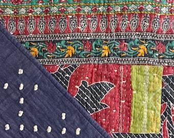 Red Vintage Kantha Baby Quilt
