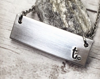 Bar Necklace - Personalized Necklace - Initial Necklace - Monogram Necklace - Hand Stamped Necklace - Horizontal Bar - Minimalist Necklace