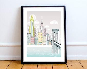 New York Print, Brooklyn Bridge Skyline, New York Wall Art, New York Gift, Wedding Gift, Valentine Gift, Anniversary