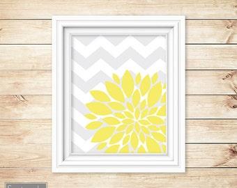 Yellow Flower Burst Wall Art Gray Chevron Bathroom Bedroom Livingroom Nursery Decor Printable 8x10 Digital JPG Instant Download (6)
