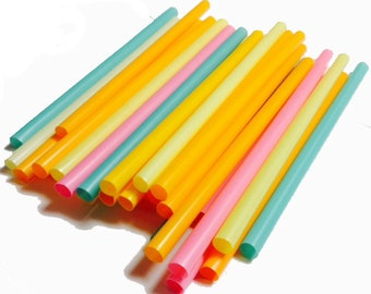 """9 """" Extra Wide Assorted unrapped Neon Milkshake/Smoothie Straws-35ct"""