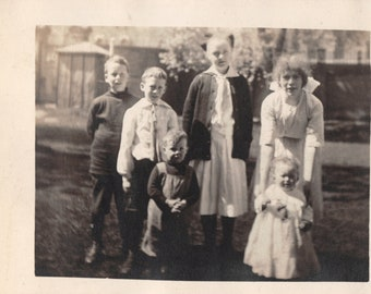 1920's Real Photo Postcard RPPC of 6 Siblings Boys Girls Baby in Family Garden
