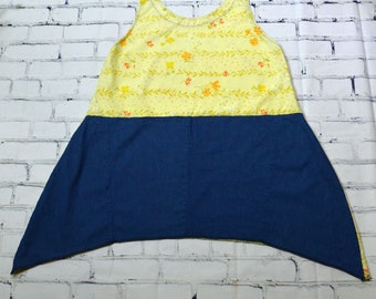 Original Upcycled Lagenlook Inspired Yellow Floral Sheet Denim Plus Size L/XL Tightrope Tunic