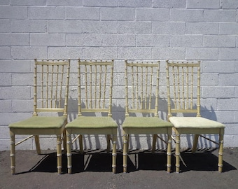Chairs Faux Bamboo Dining Set of Seating Hollywood Regency Chinese Chippendale Coastal Bohemian Boho Chic Wood Vintage CUSTOM PAINT AVAIL