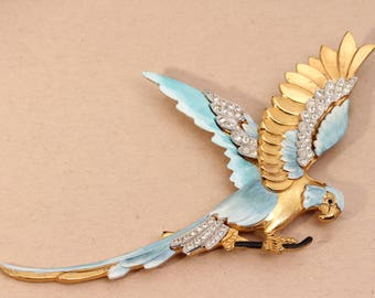 Large Parrot Brooch Pin, Vintage Parrot Brooch, Blue And Gold Macaw, Art Nouveau Brooch Pin