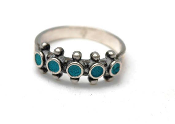 Turquoise sterling band ring  southwestern  Native American - size 7